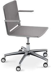 Qliq A659 - in hoogte verstelbare kunststof bureaustoel met armleggers en wielen