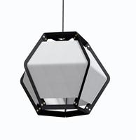 Quintus hanging - Quintus hanglamp, frame zwart, kap textiel