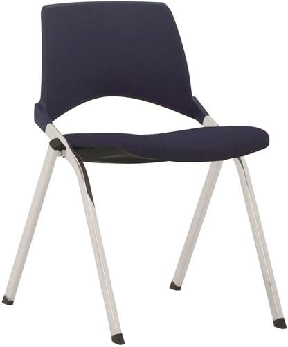 S140-30 - 4-poots kunststof design stoel met gestoffeerde zitting, verticaal stapelbaar