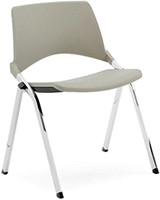 S140 - makkelijk koppelbare 4-poots kunststof design stoel, verticaal stapelbaar