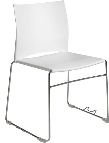 S450 - kunststof zaalstoel, perfect stapelbaar, frame chroom - WIT (BI 20)