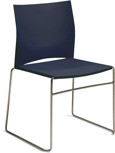S450 - kunststof zaalstoel, perfect stapelbaar, frame chroom - BLAUW (BL 516)