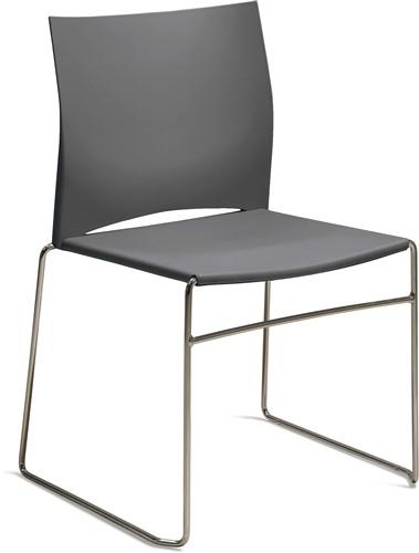 S450 - kunststof zaalstoel, perfect stapelbaar, frame chroom - STOFGRIJS (GM 517)