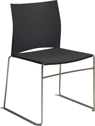 S450 - kunststof zaalstoel, perfect stapelbaar, frame chroom - ZWART (NE 01)