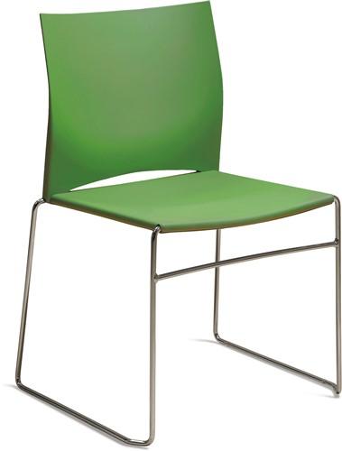 S450 - kunststof zaalstoel, perfect stapelbaar, frame chroom - HARDGROEN (VB 6018)