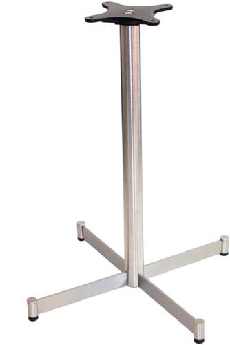 SC241 - Tafelonderstel kolompoot, hoogte 73 cm, kruisvoet 58x58 cm RVS, outdoor