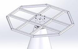 SC409 - Tafelonderstel Polyethyleen  met bladframe, hoogte 71 cm, diameter voet Ø55 cm