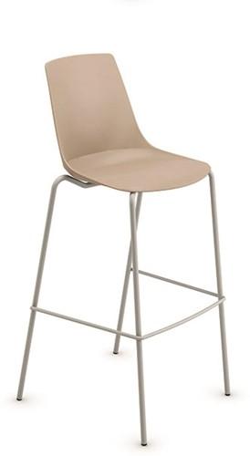 H100 - kantine barkruk, vierpoot kruk uit de Serie 100, solide frame ronde buis, kunststof zitschaal, kleur frame/zitschaal - ANTRACIET (GA) - ZWART (NE)