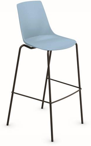 H100 - kantine barkruk, vierpoot kruk uit de Serie 100, solide frame ronde buis, kunststof zitschaal