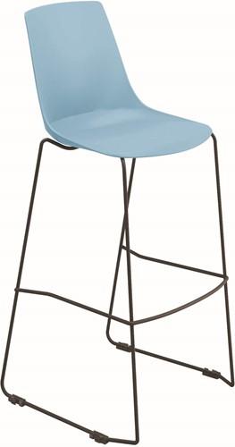 H100  SL - kantine barkruk, sledeframe kruk uit de Serie 100, solide frame stafstaal, kunststof zitschaal