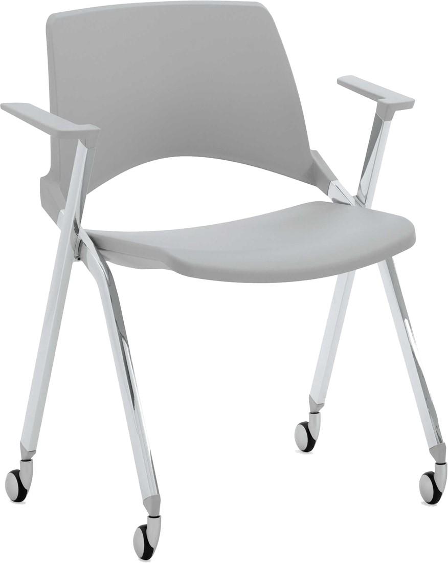 Witte Kunststof Design Stoelen.A148 Wielen Opklapbaar Kunststof Design Stoel Met Armleggers En