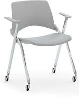 A148 wielen opklapbaar- kunststof design stoel met armleggers en wielen, verticaal stapelbaar