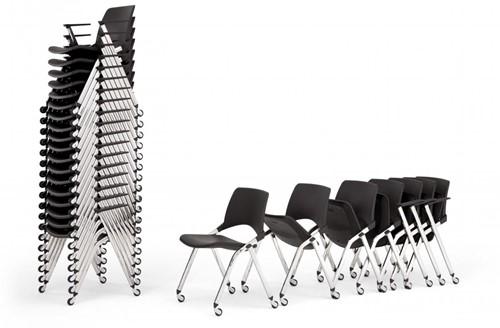 A148 wielen opklapbaar- kunststof design stoel met armleggers en wielen, verticaal stapelbaar-2