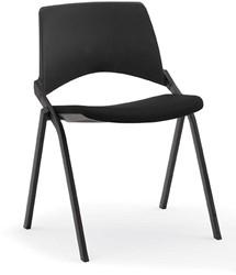 S140-20 - makkelijk koppelbare 4-poots gestoffeerde design stoel, verticaal stapelbaar