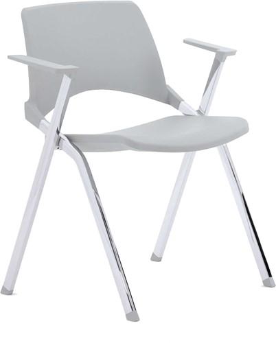 A140 - 4-poots kunststof design stoel met armleggers, verticaal stapelbaar