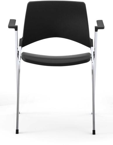 A140 - makkelijk koppelbare 4-poots kunststof design stoel met armleggers, verticaal stapelbaar-2