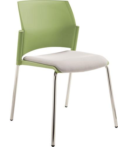 S580 - stevige kunststof kantine / school stoel met een gestoffeerde zitting