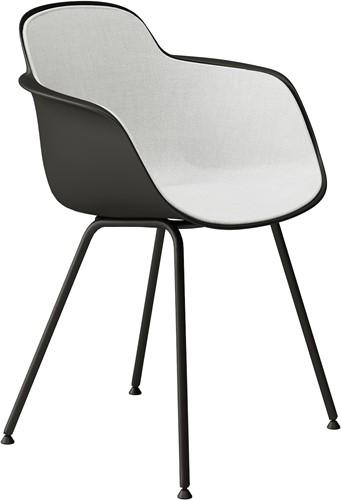 Sicla front - vierpootsstoel, frame ronde buis, kunststof kuip met binnenzijde volledig gestoffeerd