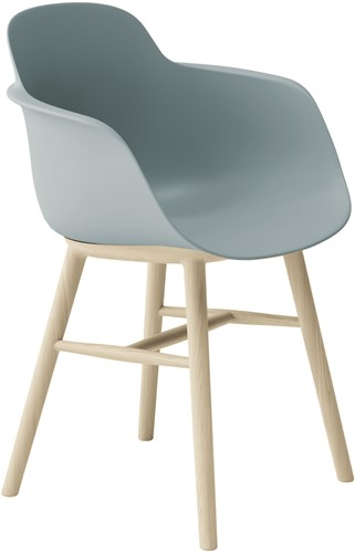 Sicla Wood - vierpootsstoel, houten frame, kunststof kuip