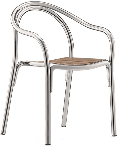 Soul 3746 - Gebogen metalen stoel met teak houten zitting