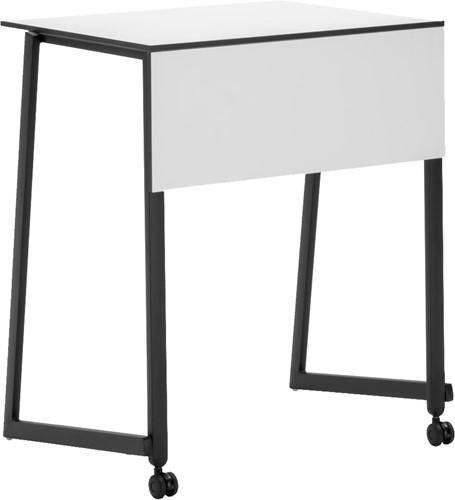 Staq tafel met wielen - Stapelbare studententafel met wit HPL blad