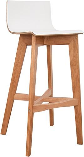 Tess Wood kruk - houten kruk met houten, hpl, Fenix of gestoffeerde zitschaal en houten voetensteun