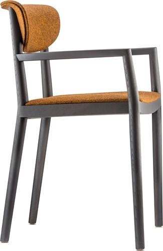 Tivoli Armstoel 2806 - klassieke houten design stoel in moderne uitvoering met armleggers en gestoffeerde zitting en rug