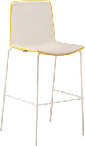 Tweet 896 - moderne kunststof vierpoot kruk met 2-kleurige zitschaal.