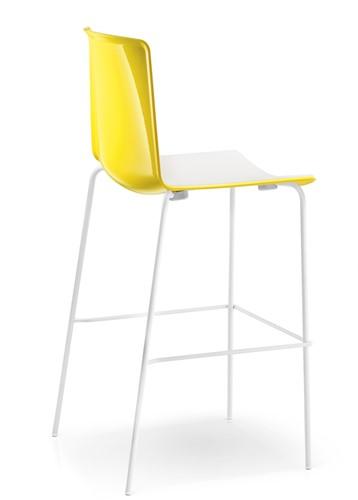 Tweet 896 - moderne kunststof vierpoot kruk met 2-kleurige zitschaal.-2
