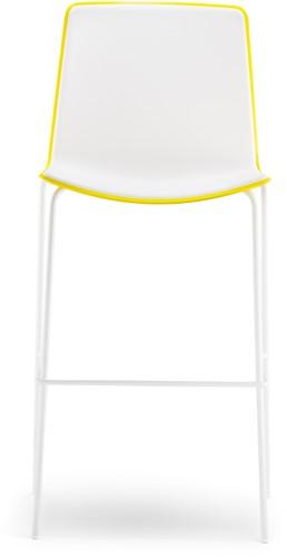 Tweet 896 - moderne kunststof vierpoot kruk met 2-kleurige zitschaal.-3