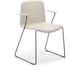 Tweet 898/2 - strak vormgegeven moderne sledeframe stoel met rondom gestoffeerde zitting en armleggers
