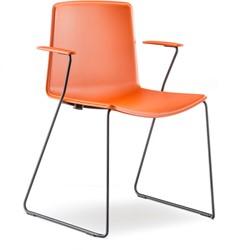 Tweet 898 - strak vormgegeven moderne kunststof sledeframe stoel met unicolor of 2-kleurige zitschaal en armleggers