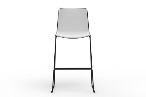 Tweet 899 - moderne kunststof sledeframe kruk met 2-kleurige zitschaal-3