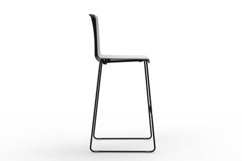 Tweet 899 - moderne kunststof sledeframe kruk met 2-kleurige zitschaal-2