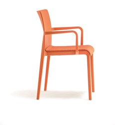Volt 674 - geheel kunststof kantine / outdoor stoel met hoge rug en doorlopende armleggers