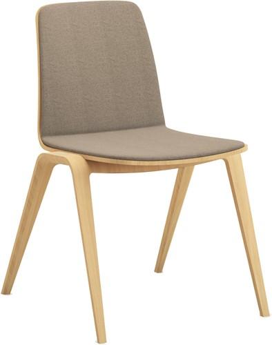 Woodstock stof - houten verticaal stapelbare stoel aan de voorzijde gestoffeerd