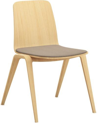 Woodstock Zit Stof - geheel houten verticaal stapelbare stoel met gestoffeerde zit