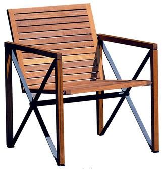 Magnus Olesen Xylofon 4661 - Loungestoel, frame vuurverzinkt staal, houten delen teak. Geschikt voor gebruik buiten.