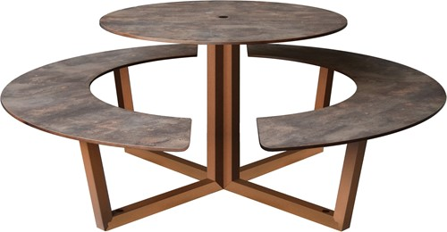 Yuke Round - Ronde tafel met vaste banken-2