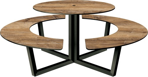 Yuke Round - Ronde tafel met vaste banken-3